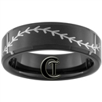 7mm Black Beveled Tungsten Carbide Baseball Stitch Design