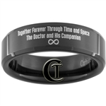7mm Black Beveled Tungsten Carbide Doctor Who Gallifreyan and Quote Design