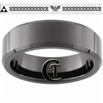 7mm Black Beveled Tungsten Carbide Zelda Skyward Sword Triforce Design