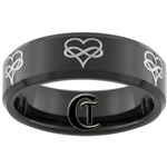 7mm Black Beveled Tungsten Carbide Infinity Hearts Design