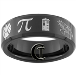 7mm Black Beveled Tungsten Carbide Geek Fandoms Design