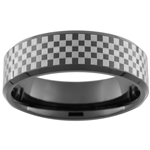 7mm Black Beveled Tungsten Carbide Checker NASCAR Design