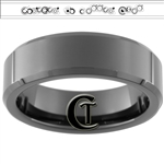 7mm Black Beveled Tungsten Carbide Doctor Who Gallifreyan- Forever No Matter What Design
