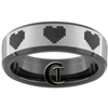 7mm Black Beveled Tungsten Carbide 8 Bit Heart Design