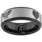 7mm Black Beveled Tungsten Carbide Satin Finish 8 Bit Heart Zelda Design