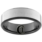 7mm Black Beveled Tungsten Carbide Stone Finish Ring