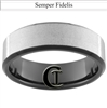 7mm Black Beveled Tungsten Carbide Stone Finish Marines Semper Fidelis Design Ring.