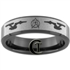 7mm Black Beveled Tungsten Carbide Star Trek Design