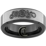 7mm Black Beveled Stone Finished Tungsten Carbide Doctor Who Gallifreyan and Quote Design