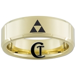 7mm Gold Beveled Tungsten Carbide Zelda Triforce Design