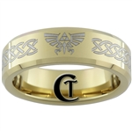 7mm Gold Beveled Tungsten Carbide Zelda Design