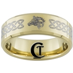 7mm Gold Beveled Tungsten Carbide Zelda Wolf Design