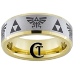 7mm Gold Beveled Tungsten Carbide Satin Finish Zelda Triforce Skyward Sword Ring Design