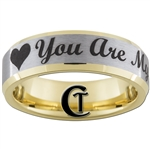 7mm Gold Beveled Tungsten Carbide Heart Design