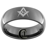 7mm Black Dome Tungsten Carbide Masonic Design