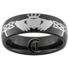 7mm Black Dome Tungsten Carbide Claddagh Celtic Ring Design