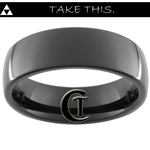 7mm Black Dome Tungsten Carbide Custom Zelda Design