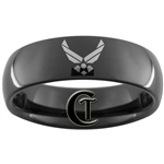 7mm Black Dome Tungsten Carbide Air Force Logo Design.