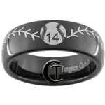 7mm Black Dome Tungsten Carbide Baseball Stich and Custom Number Design