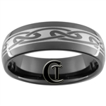 7mm Black Dome Tungsten Carbide Celtic Design