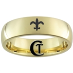 7mm Gold Dome Tungsten Carbide Fleur De Lis Design