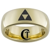 7mm Gold Dome Tungsten Carbide Zelda Triforce Design