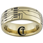 7mm Gold Dome Tungsten Carbide Circuit Board Ring Design