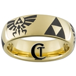 7mm Gold Dome Tungsten Carbide Legend Of Zelda Design