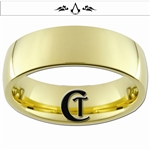 7mm Gold Dome Tungsten Carbide Assassin's Creed Design