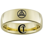 7mm Gold Dome Tungsten Carbide Masonic Design
