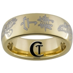 7mm Gold Dome Tungsten Carbide Serenity Kanji Firefly Design