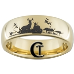7mm Gold Dome Tungsten Carbide Hunting Wildlife Design