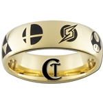 7mm Gold Dome Tungsten Carbide Laser Super Smash Bros. Design