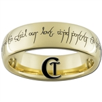 7mm Gold Dome Tungsten Carbide Laser LOTR Love Poem Design