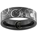 7mm Black Pipe Tungsten Carbide Lasered Doctor Who Ring Design