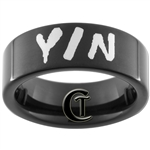 7mm Black Pipe Tungsten Carbide Yin & Infinity Symbol Design