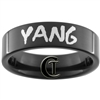 7mm Black Pipe Tungsten Carbide Yang & Infinity Symbol Design