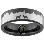 7mm Black Pipe Tungsten Carbide Wolves in the Forest Design