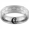 8mm Beveled Tungsten Carbide Greek Key Design