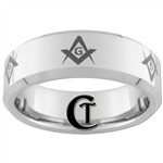 8mm Beveled Tungsten Carbide Masonic Design