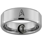 8mm Beveled Tungsten Carbide Star Trek Design