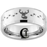 8mm Beveled Tungsten Carbide Deer And Tracks Hunting Design