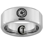 8mm Beveled Tungsten Captain America Iron Man Ring
