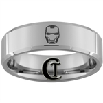 8mm Beveled Polished Tungsten Iron Man Designed Ring
