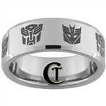8mm Beveled Tungsten Autobot Decepticon Designed Ring