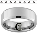 8mm Beveled Tungsten Carbide 8 Masonic Symbols
