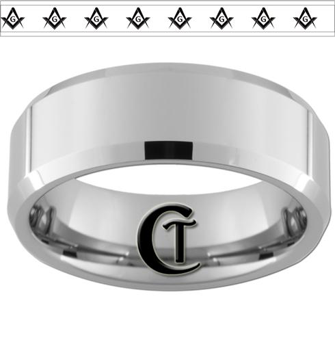 Tungsten Carbide Ring 8mm Ice Blue Beveled Multiple EMT Star of Life Symbols Design-Free Inside Engraving