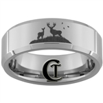 8mm Beveled Tungsten Carbide Deer Hunting Design
