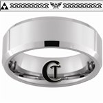 8mm Beveled Tungsten Carbide Zelda Skyward Sword Triforce Design