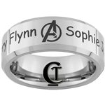 8mm Beveled Tungsten Carbide Avengers & Names Design